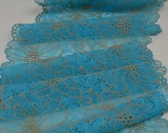 5 mètres Coupon Dentelles Calais brodées largeur 17 cm Ruban couleur  turquoise 0270391ebdc