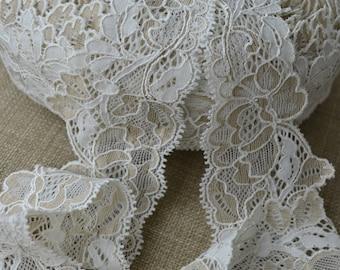 5 mètres Coupon Dentelles Calais coton soie blanc 3 4731f67bb28