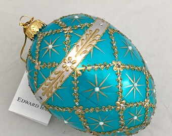 Turquoise Egg, Royal Carriage, Glass Christmas Tree Ornaments, Handmade With Swarovski Crystals, Edward Bar Ornaments