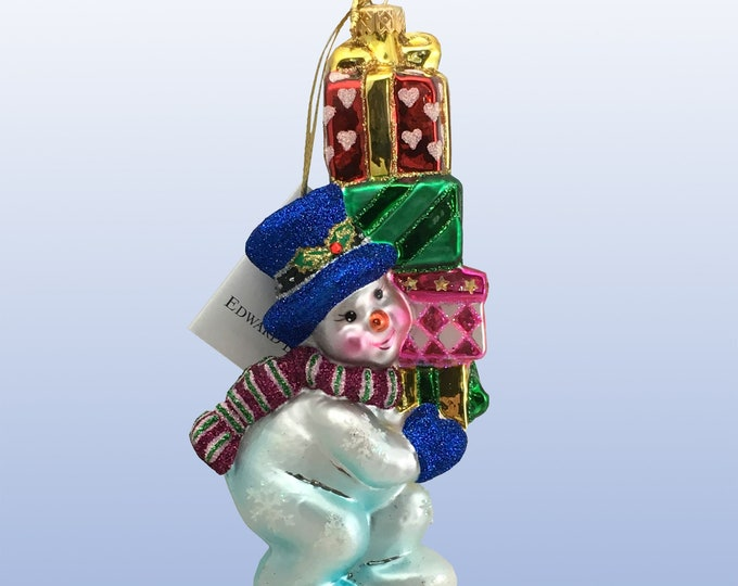 Snowman with gifts, Glass Christmas Ornament, H 6 (in)