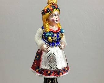 Krakow Girl, Krakowianka, Glass Christmas Ornament, H 6.25(in)