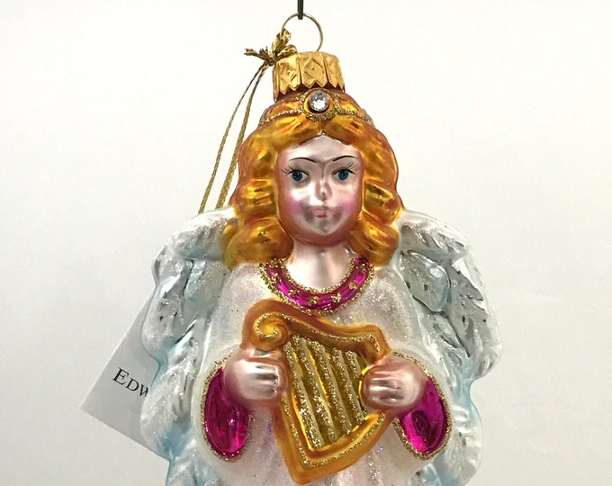 Pink Angel With Harp, Glass Christmas Ornament, 6.75 (in)