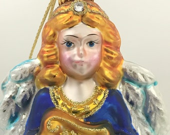 Union Angel With A Harp, Glass Ornament