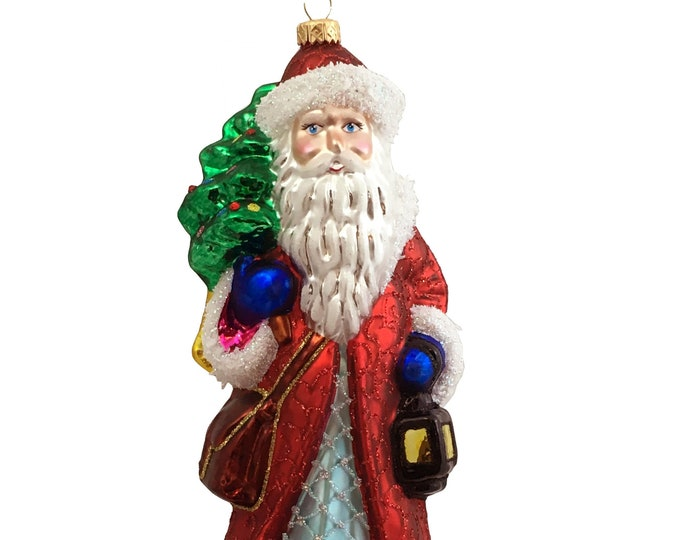 Santa Claus with a lamp, Glass Christmas Ornament, H 7.5 (in)