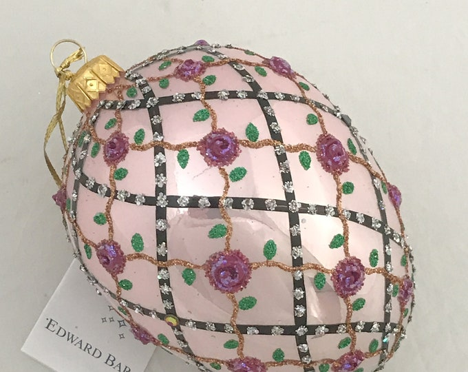 Powder Pink Egg, Rose onTrellis, Glass Christmas Ornament, Handmade with Swarovski crystals, Edward Bar Ornaments