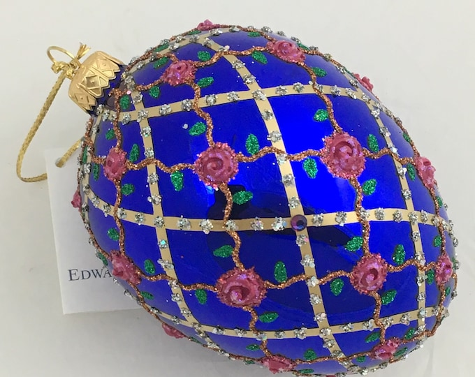 Sapphire Egg, Roses On Trellis, Christmas Tree Ornaments,