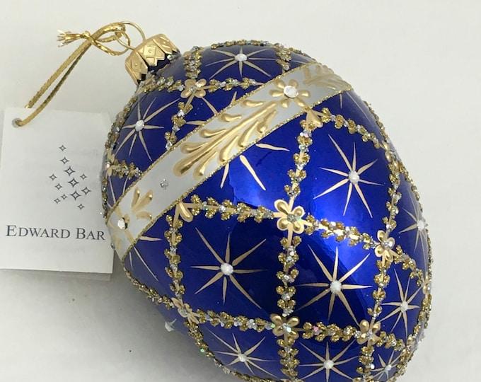 Sapphire egg-Royal Carriage-glass Christmas tree ornament handmade in Poland