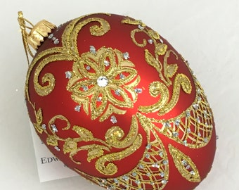 Red Egg-PYSANKA-Glass Christmas Ornaments With Swarovski Crystals, Handmade, Edward Bar