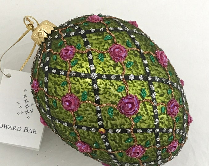 Olive Egg, Rose onTrellis, Glass Christmas Ornament,