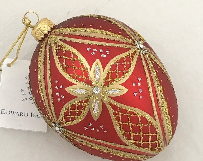 Red Egg, Star, Glass Christmas Tree Ornaments