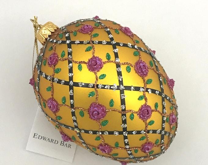 Gold Egg, Rose on Trellis, Glass Christmas Ornament, H (in): 4.75