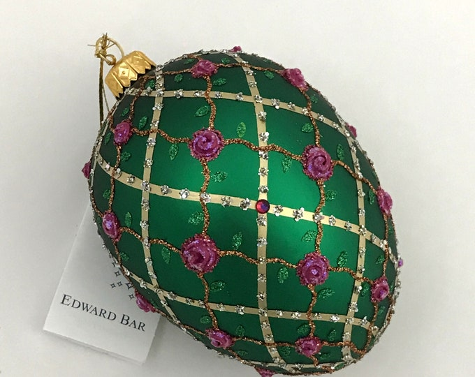 Green Egg, Rose on Trellis, Glass Christmas Ornament