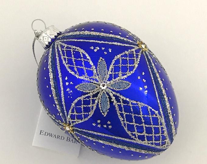 Sapphire Glossy Egg, Bethlehem Star, Glass Christmas Ornament, H (in): 4.75