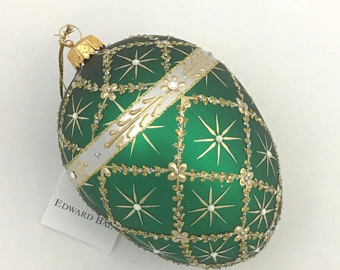 Green Matt Egg, Royal Carriage, Glass Christmas Tree Ornaments