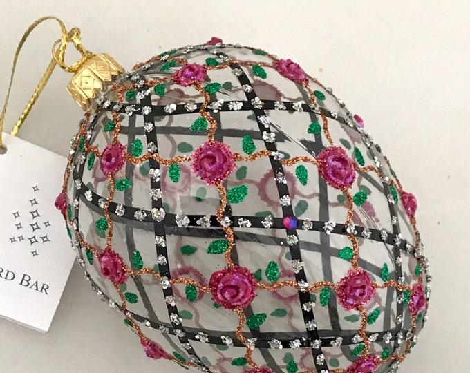 Transparent Egg, Rose onTrellis, Glass Christmas Ornament,