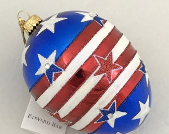 Patriotic American Flag, Glass Egg