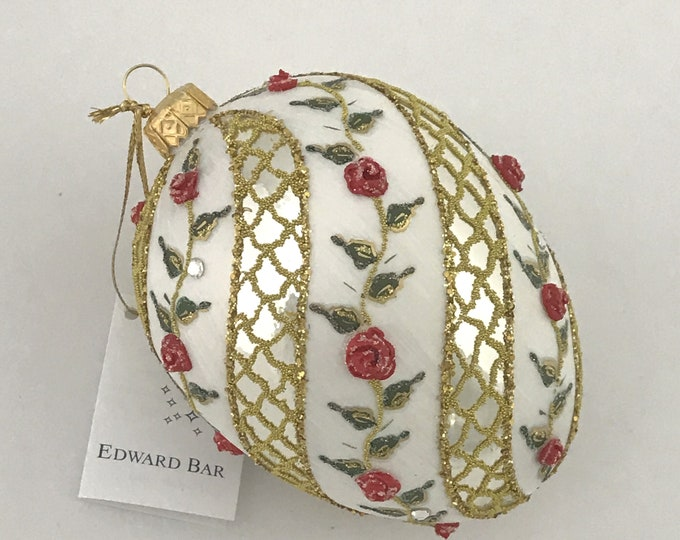 Autumn Egg, SPIRAL ROSE, Glass Christmas ornament, H (in ): 4.75