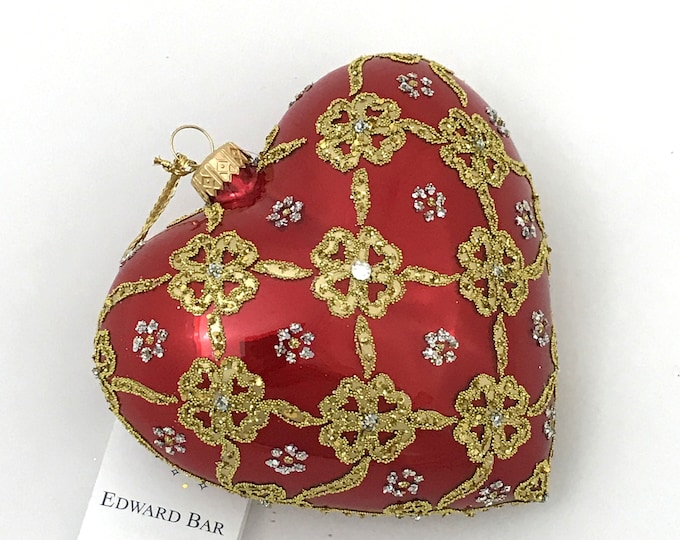 Red Pearl Heart, Ribbons, Glass Ornament, H(in): 4.75