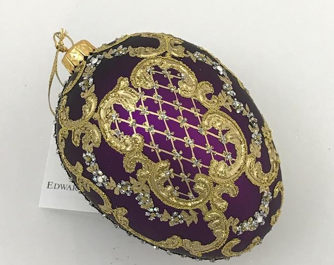 Purple Egg, ORNAMENTAL, Glass Christmas Tree Ornament,
