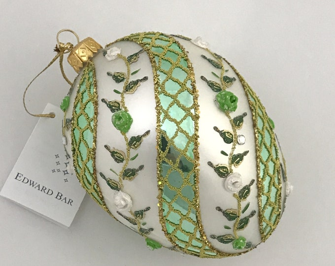 White Egg, Spiral Rose, Glass Christmas Tree Ornaments, H 4.75(in)