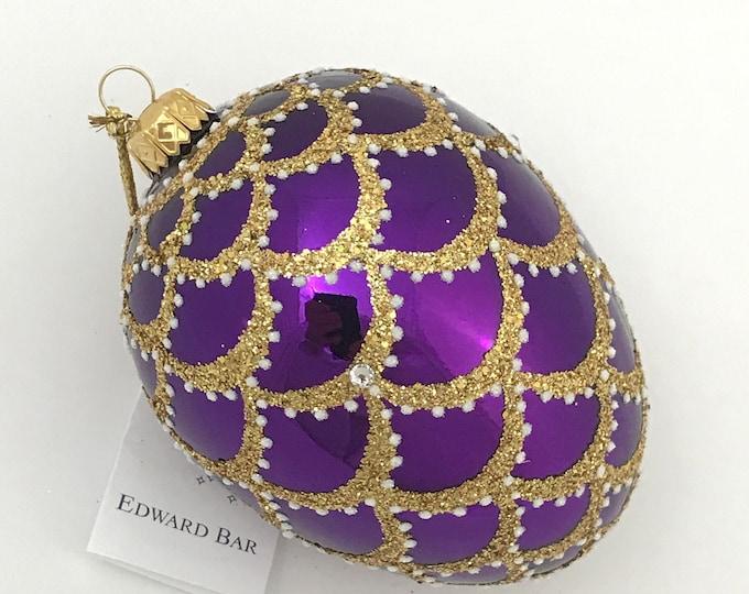 Purple Egg, Cone, Glass Christmas Ornaments with Swarovski Crystals, Handmade, Edward Bar Ornaments