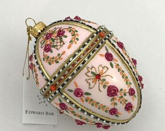 Pastel Pink Egg, Gatchina Palace, Glass Christmas Ornament, H (in): 4.75