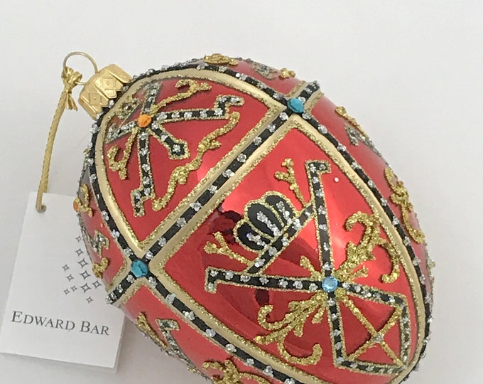 Glossy Red Egg, TSAR IVAN, Glass Ornament
