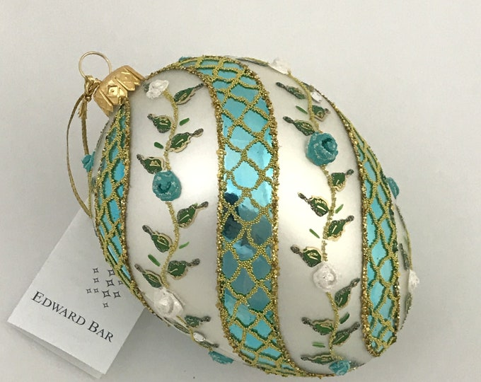 Turquoise&White Egg, Spiral Rose, Glass Christmas Tree Ornaments, H 4.75(in)
