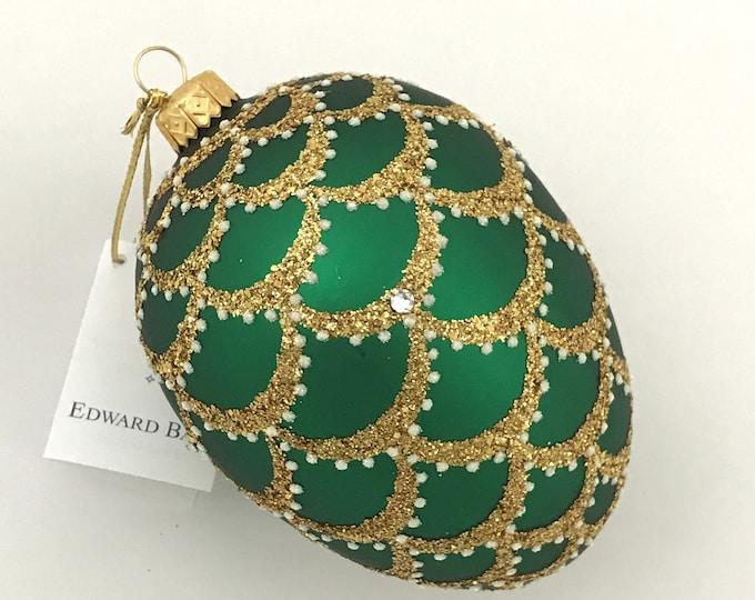 Green Matt Egg, Cone, Glass Ornament
