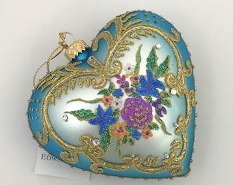 Blue Heart, Flowers, Glass Christmas Ornaments