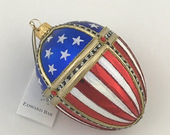 Egg, Patriotic American Flag, Glass Christmas ornament, H (in): 4.75