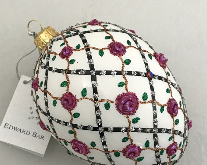 White Egg, Rose onTrellis, Glass Christmas Ornament, Handmade with Swarovski crystals, Edward Bar Ornaments
