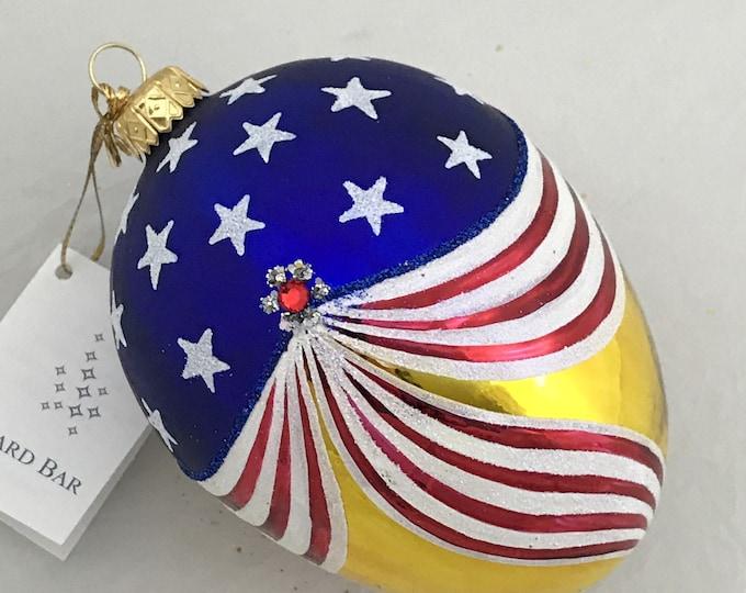 Patriotic American flag, Glass egg, Christmas tree ornament handmade in Poland