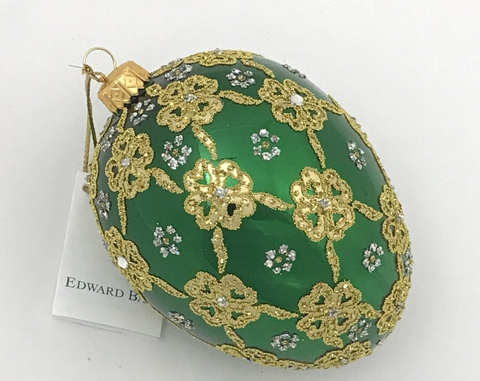 Green Glossy Egg, Ribbons, Glass Christmas Tree Ornament, H (in): 4.75