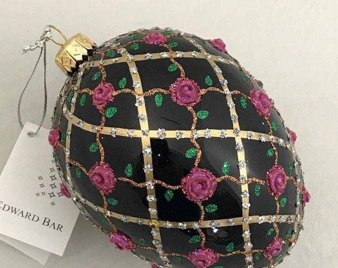 Black Egg, Rose on Trellis, Glass Christmas Ornament