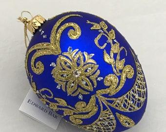 Blue easter egg, PYSANKA, glass Christmas ornament with Swarovski crystals, handmade in Art Studio Edward Bar