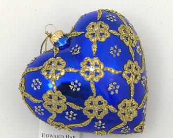 Sapphire Glossy Heart, Ribbons, Glass Christmas Tree Ornaments,