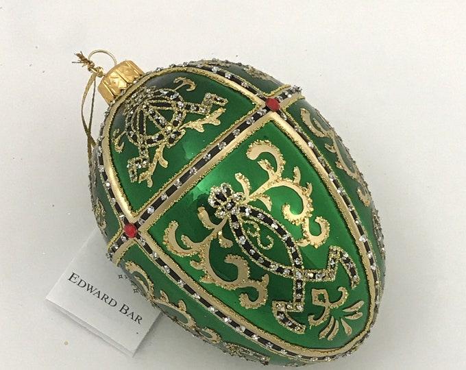 Glossy Green Egg, ORNAMENTAL, Glass Christmas Ornament, H (in): 4.75