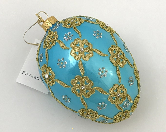 "Turquoise Egg, Ribbons, Glass Christmas  Ornament, 4.75"""