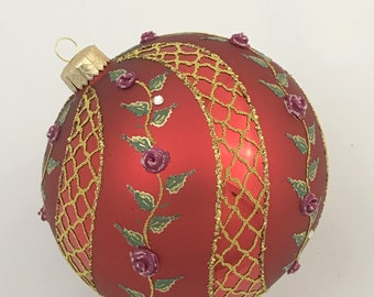 Red Ball Ornament, Spiral Rose