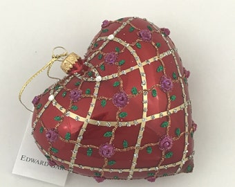 Red Pearl Heart, Roses, Glass Christmas Ornament, H (in): 4.75
