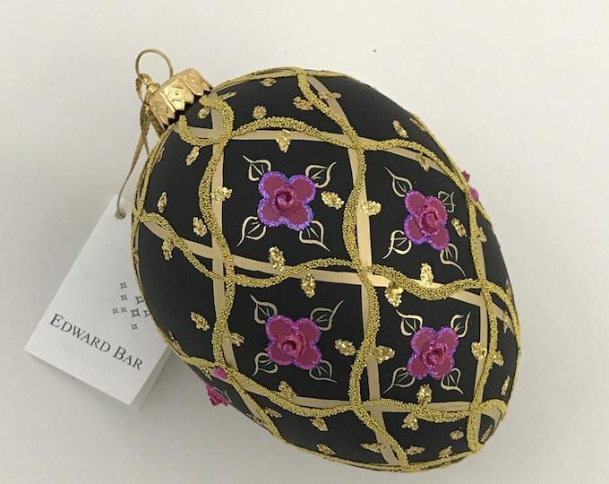 Black Matt Egg, Wild Rose, Glass Ornament