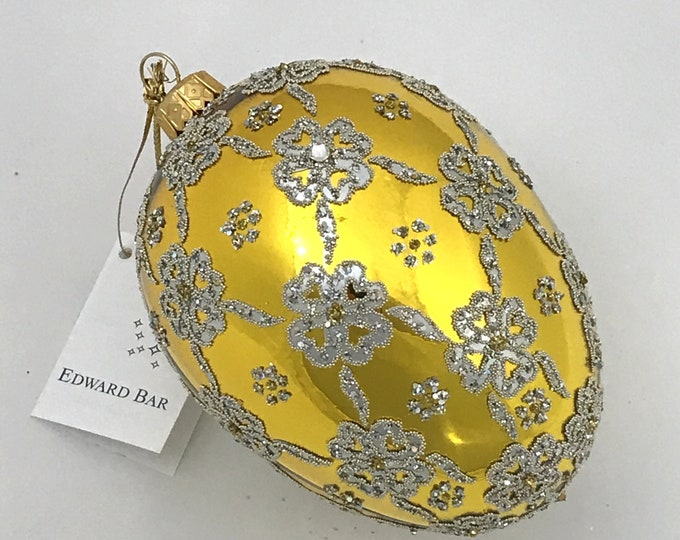 Gold Egg, Ribbons, Glass Christmas Tree Ornament,
