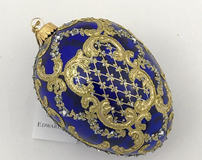 Transparent Blue Egg, ORNAMENTAL, Glass Christmas Tree Ornament