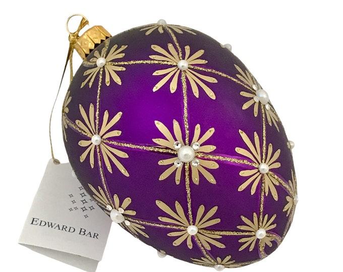 Purple Matt Egg, Art Deco, 24 Swarovski Crystals & Pearls, Glass Christmas Ornament, Faberge Style, Handmade Decorated, Edward Bar Ornaments