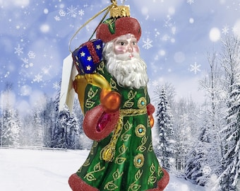 Santa Claus, Russian, Glass Christmas Ornament, H 6 (in)