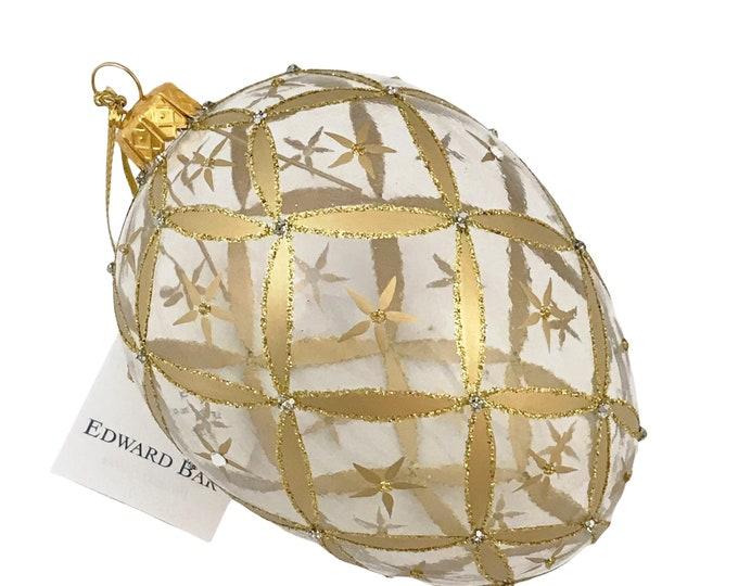 Transparent Egg, Little Stars, Swarovski Crystals, Glass Christmas Ornament, Faberge Style, Handmade Decorated, Edward Bar Ornaments