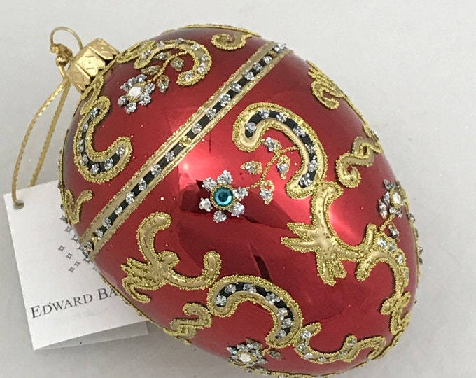 Red Egg, Azov, Glass Christmas Tree Ornaments, H (in): 4.75