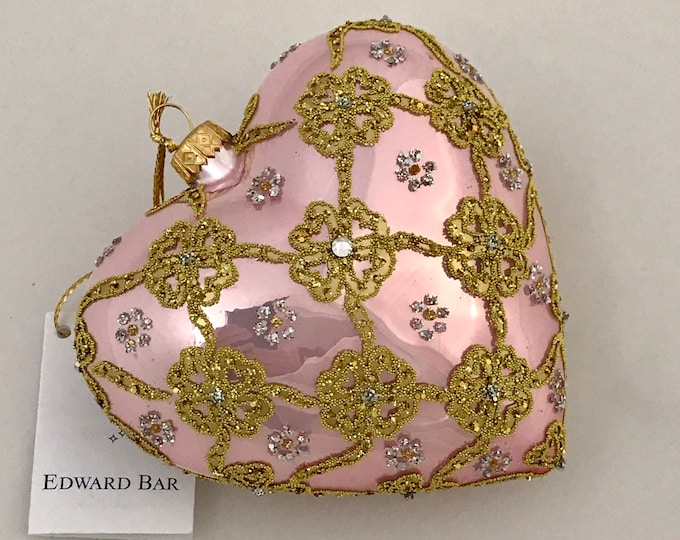 """Pink Heart, Ribbons, Glass Ornament, 4.75"""""""