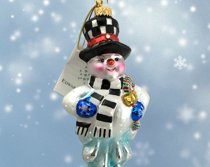 Melting snowman, Glass Christmas Ornament, H 6 (in)